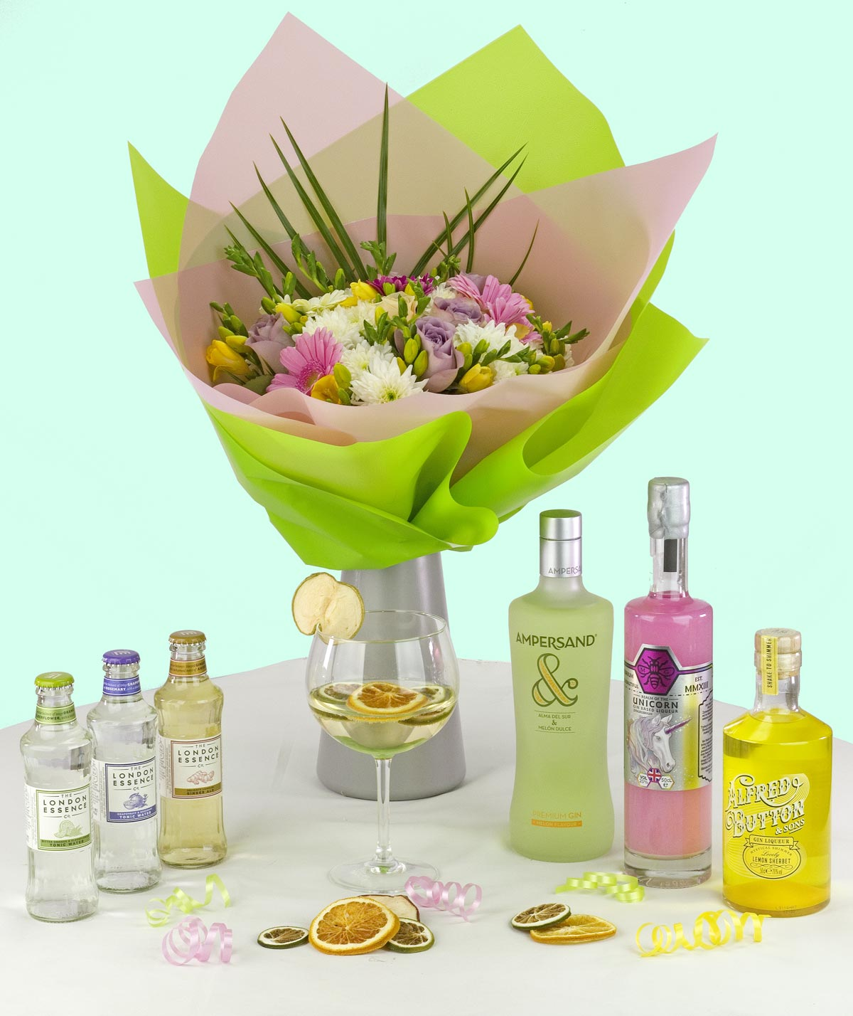Example 3: A perfect example of a colour coordinated selection of gins and fresh flowers.